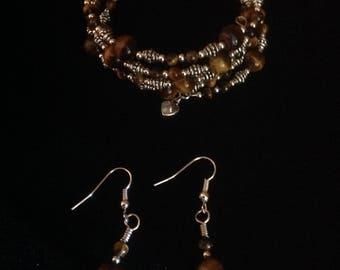 Tiger Eye Memory Wire Bracelet & Earrings
