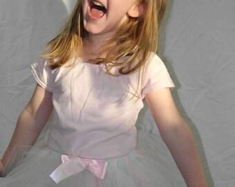 READY TO SHIP Mint Green and Light Pink Toddler Tutu, Handmade Tutu Size 4T, Tulle Skirt, Dancewear, Ballet Skirt