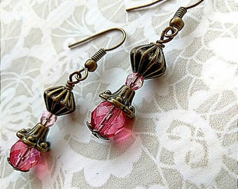 Rose and brass earrings