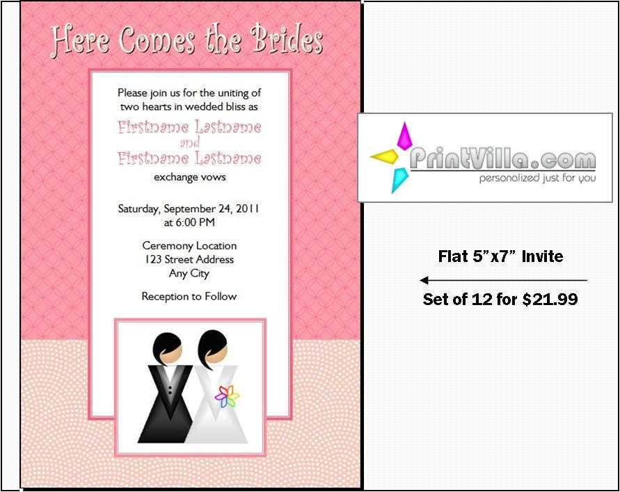 Gay Wedding Invitations: Lesbian Wedding Invitations Set Of 12 Flat 5x7 Invites