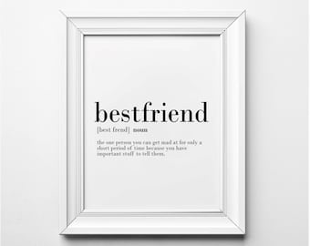 Best Friends Definition, Funny Gift Idea for Best Friends, Funny Art Print, Word Art, Funny Friendship, Printable Art, Friendship Wall Art