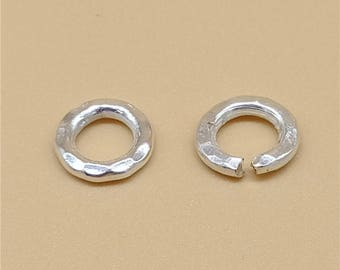10 Karen Hill Tribe Silver Open Jump Rings Closed Jump Rings 8mm, Higher Silver Content than Sterling Silver - TR1074