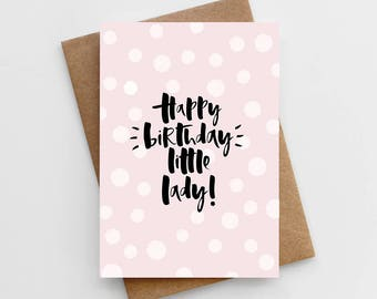 Children's Birthday Card - Happy Birthday Little Lady Card - Girly Birthday Card - Birthday Card For Little Girl