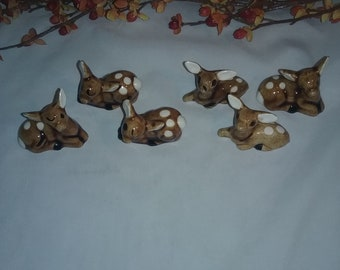 Set of 6 hand painted vintage small Deer, Dow ,Fawn figurines Y7