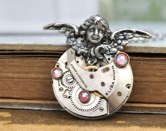 Steampunk necklace - GUIDANCE - vintage 17 jeweled watch movement necklace with angel charm and Swarovski rhinestone