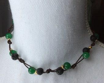 Emerald Jade, glass and Lava Stone Essential Oil Diffuser Necklace