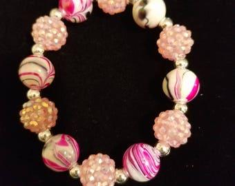 Pink Marble Bead Bracelet