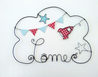 """Wire name customizable cloud """"A rocket in the middle of the stars"""" decoration for child's room wall cloud"""