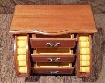 Vintage wooden jewelry box, musical, free shipping
