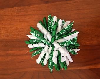 Green, White Shamrocks St. Patrick's Day Corker Bow