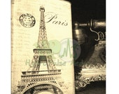Paris Eiffel Tower Printable  Scrabook Sheet Old Telephone Victorian Steampunk Goth Edwardian Gatsby Era Black White Sepia Aged  Picture