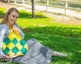 Crochet Pattern: Patchwork Diamond Bag *Purse *Crochet Along *Yellow *Green *Granny Square