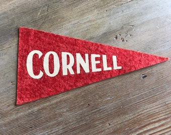 """Cornell mini Pennant Vintage 1930s red white graduation gift Ithaca NY 5.5"""" vintage"""