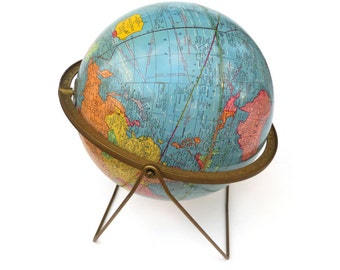 """c1962 Cram's Imperial World Globe, 12"""" Desktop Globe on Unique Wire Base, Embossed Real Brass Full Meridian, Vivid Colors, Great Condition"""