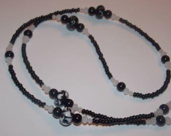 Black and White Swirly Lampwork Glass White Crystal Black Seed Bead Eyeglass Chain Holder
