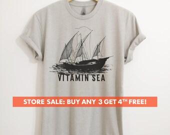 Sailing Vitamin Sea T-shirt, Ladies Unisex Crewneck Shirt, Summer, Sailboat Shirt, Short & Long Sleeve T-shirt