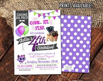 PUPPY DOG PALS Birthday Invitation | Girl's Puppy Dog Pals Party Invite