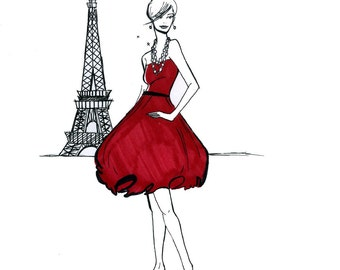 Parisian Fashion Illustration: Girl About Paris Print