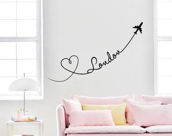London Wall Decal Planes Hearts Love Travel Vinyl Stickers Decals Art Home Decor Mural Vinyl Lettering Wall Decal Bedroom Dorm x336
