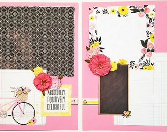 Premade Scrapbook 12 x 12 Double Page Layout-Delightful