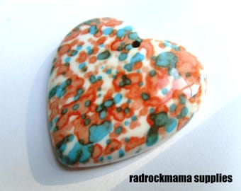 Orange Teal White Riverstone Heart Focal Pendant 40x40mm    -C-6