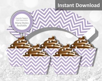 Lavender Purple Chevron Cupcake Wrapper Instant Download, Party Decorations