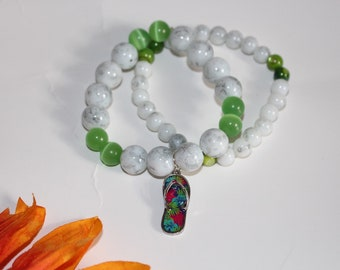 Tropical Flip Flops Beaded Charm Bracelets - Metal Charm Flip Flop - Beach Charm Bracelet - Woman's  Charm Bracelet