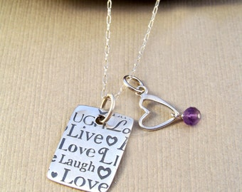 Sterling Silver Quote Necklace & Heart with Amethyst-Zen Jewelry-Gift