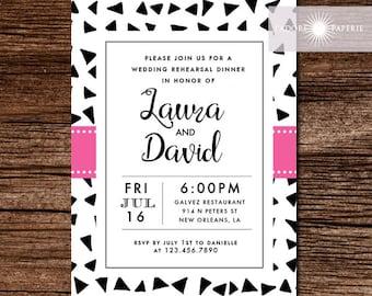 Rehearsal Dinner Invitation, Modern Rehearsal Dinner Invite, Fashion, Triangle Invitation, Printable, Geometric Invite, Pink, jadorepaperie