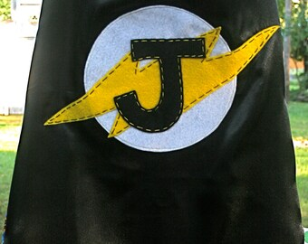 Superhero Cape-PERSONALIZED BLACK Boys Superhero Costume - Choose the Initial - Superhero Birthday Party