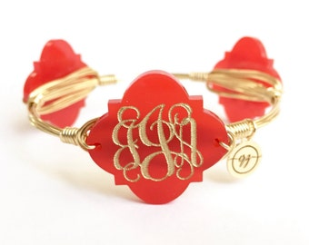 Quatrefoil Monogram Wire Bangle, Bangle, Bracelet, Monogram, Bourbon and Boweties, Moon and Lola Inspired