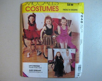 Vintage McCalls 7848 Halloween Costume Sewing Pattern - Girls 7, 8 Size Large Dancer, Bride, Witch, Ballerina, Dress-Up Pattern
