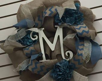Personalized Fall Wreath Blue Tan