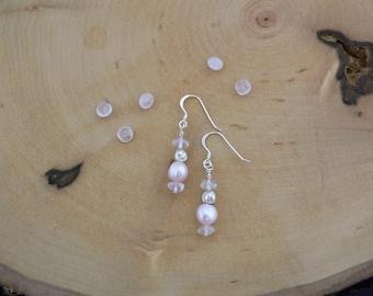 Reiki Healing Earrings, Love Earrings, Pearl Earrings, Pink Pearl and Rose Quartz Earrings, Dangle Earrings