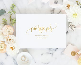 Modern Wedding Shower Guest Book, Gold Script Custom Name Signature Book, Bridal Shower Book Personalized Gift, Custom Guestbook, 5