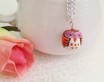 Owl Necklace. Hand Painted Ceramic. Orange. Pink. White. Whimsical. Cute. Owl Jewelry. Silver Chain. Fun. Handmade. Under 20.