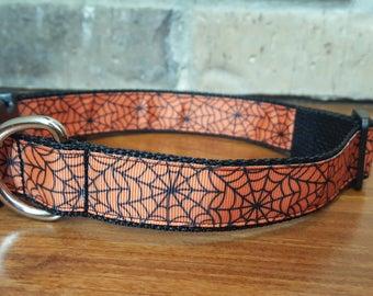 Halloween Spider Web Dog Collar Large