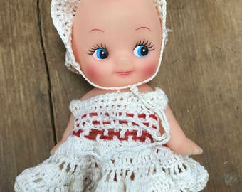 Vintage Kewpie Doll with crocheted dress and hat