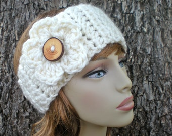 Free Crochet Pattern: Woodsie Band, easy crochet P D F, flower ear warmer, boho chic, InStanT DowNLoaD, PERMISSION to SELL