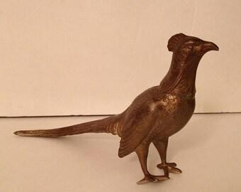 ON SALE Vintage Old Metal Cast Bird Marked CREST Figure Figurine 2272