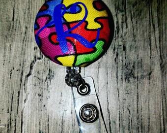 Autism Id badge reel   Id badge holder   Rn   Rt   Dr   Ma  Pt/Ot   Teacher   Hospital   Swivel   Autism   Light it up blue   Puzzle  pieces