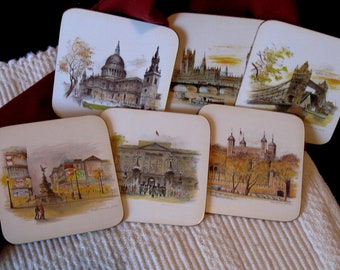 TRAVEL COASTERS  /London Fine Art  works of detailed art by Evans/ Vintage English serving coasters