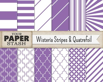 Purple Striped Digital Scrapboooking Paper Backgrounds & Patterns Lavender Diagonal Lines Quatrefoil Paper Spring Summer Birthday Scrapbook