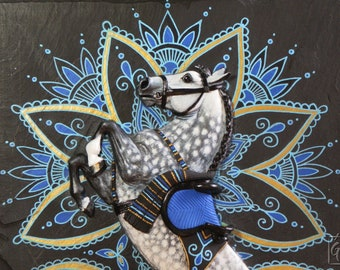 OOAK bas-relief horse on slate tile