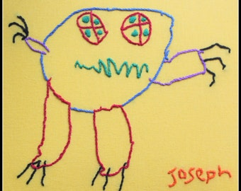 Kid's drawings, recreated in hand embroidery. So fun & cute! Frameable in any size, on a T-shirt, apron ... anything fabric