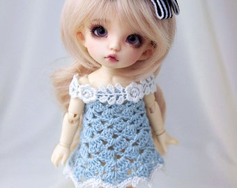 Light blue crocheted dress for PukiFee, Lati Yellow