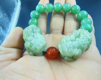 Round beads A+ round green jade beads good luck bangle bracelet