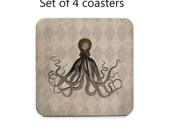 Nautical Coasters Set of 4, nautical decor, kraken coaster, octopus coasters, geeky coasters, drink coasters, cork back coasters, gift set