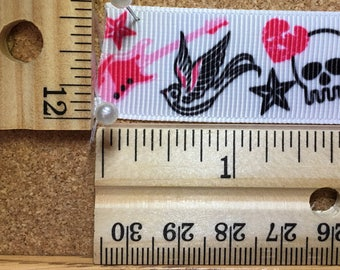 Black Hot Pink on White Girly Rock Tatoo 7/8 inch Grosgrain Ribbon