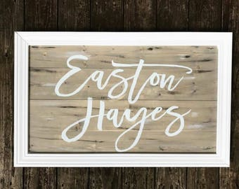Nursery name sign, wooden nursery name sign, baby name sign, above the crib sign, wooden name sign, last name wood sign